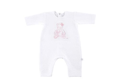 Théophile & Patachou Kruippakje jersey gewafeld teddybeer -  wit/roze