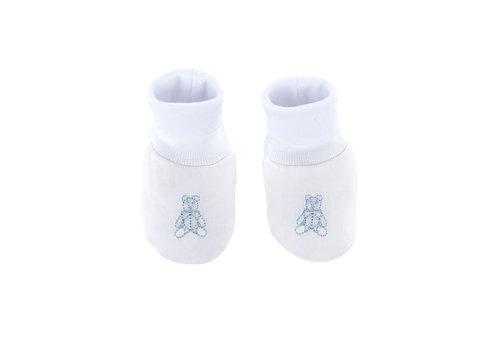 Théophile & Patachou Babyslofjes jersey teddybeer -  Wit/lichtblauw