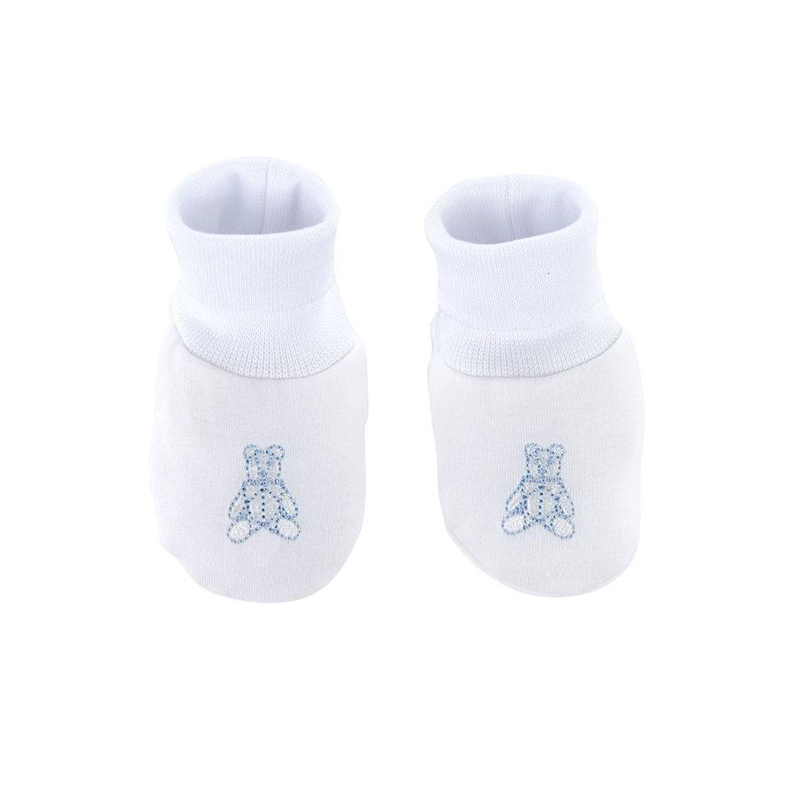 Babyslofjes jersey teddybeer -  Wit/lichtblauw-1