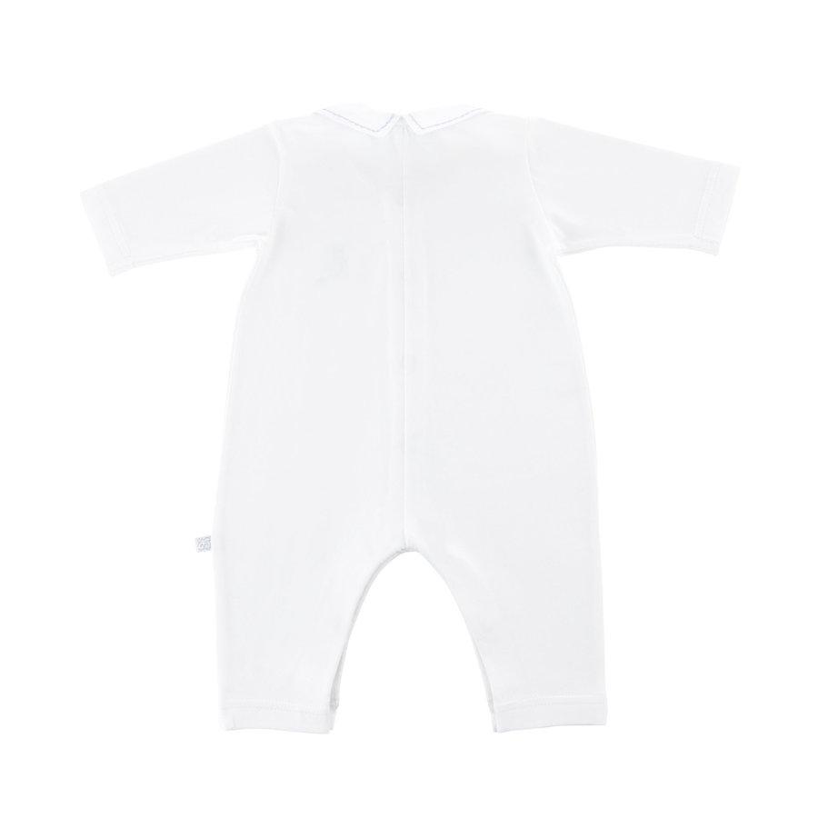 Kruippakje jersey kraag open voorkant -  Wit/lichtblauw-2