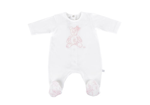 Théophile & Patachou Kruippakje jersey Teddybeer -  wit/roze