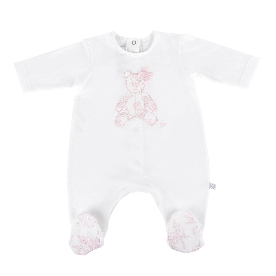 Kruippakje jersey Teddybeer -  wit/roze-1