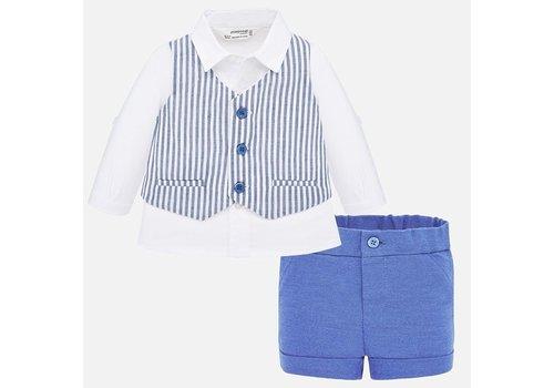 Mayoral set korte broek, overhemd, gilet - blauw