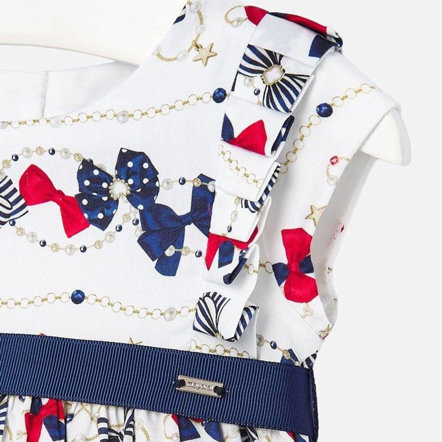 jurk met riem strikjes - wit-2