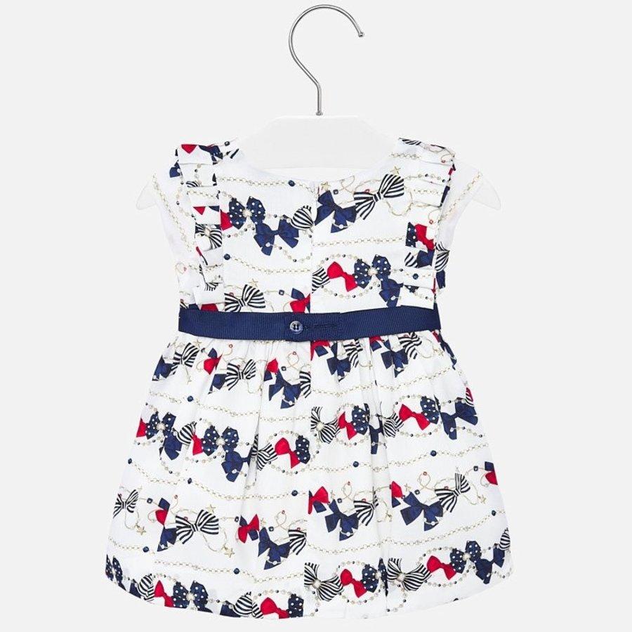 jurk met riem strikjes - wit-3