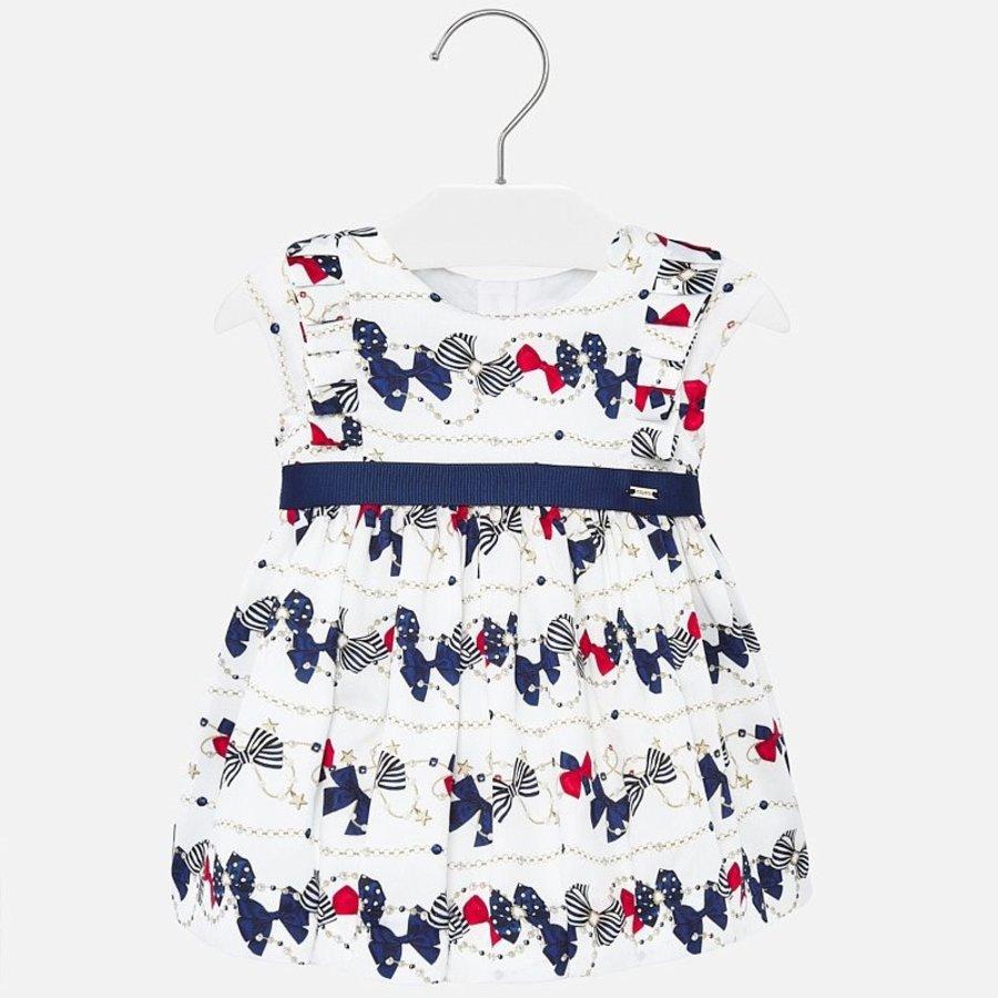jurk met riem strikjes - wit-1