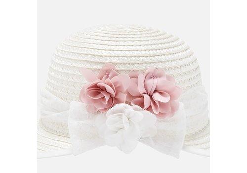 Mayoral hoed met bloemen - roze