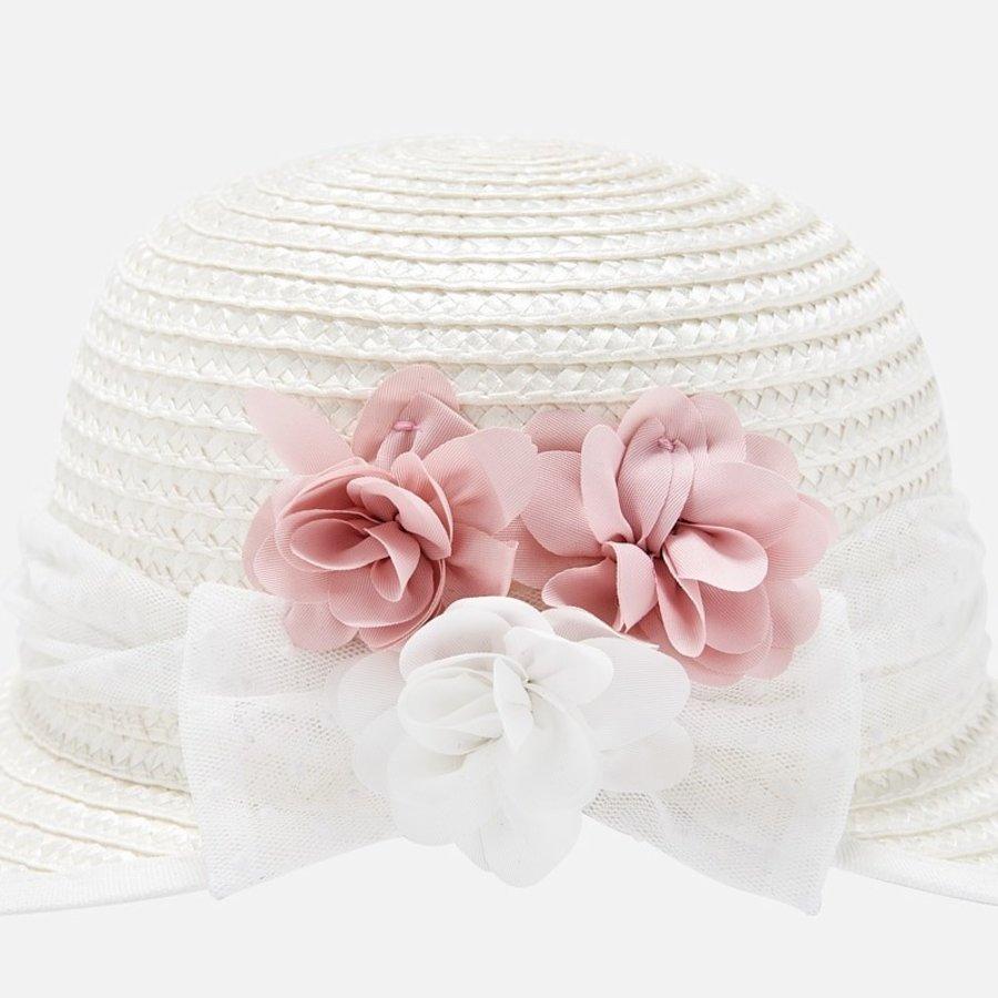 hoed met bloemen - roze-1