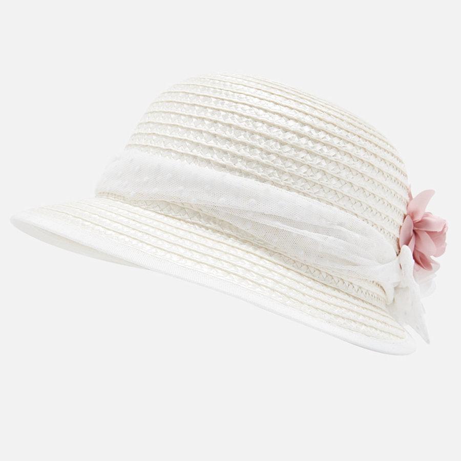 hoed met bloemen - roze-3
