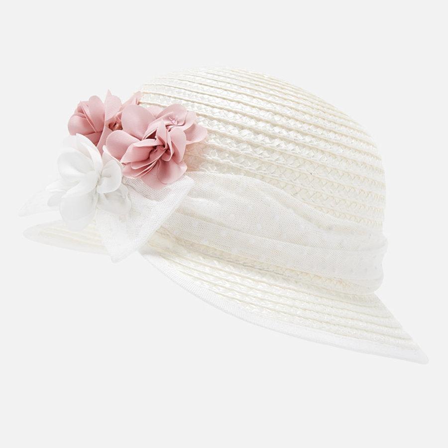 hoed met bloemen - roze-4