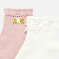 thumb-set van 2 sokjes met bloem en strikje - wit/roze-2