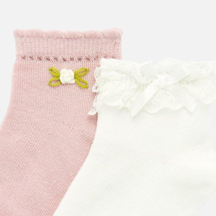 set van 2 sokjes met bloem en strikje - wit/roze-2