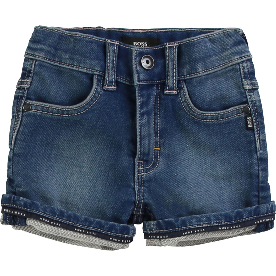 kort broekje stretch jeans - blauw-1