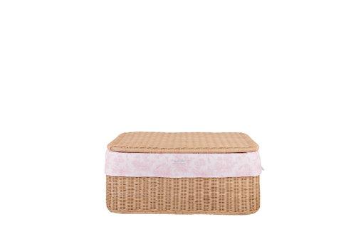 Théophile & Patachou Sweet Pink Kleine rieten speelgoedkoffer + Bekleding katoen