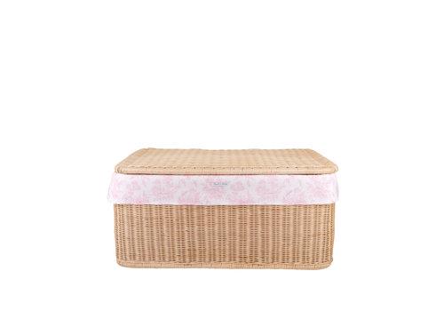 Théophile & Patachou Sweet Pink Grote rieten speelgoedkoffer + Bekleding katoen