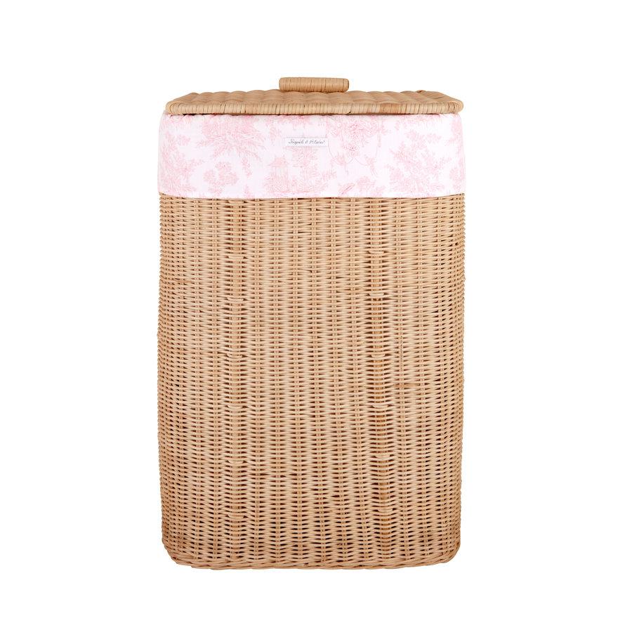 Sweet Pink Rechthoekige rieten linnenmand + Bekleding katoen-1