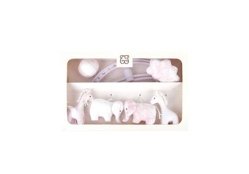 "Théophile & Patachou Sweet Pink Muziekmobiel ""olifanten en giraffen"""