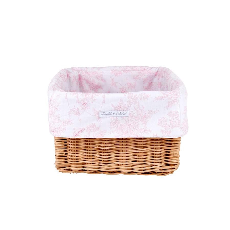 Sweet Pink Rieten mandje + Bekleding  katoen-1