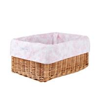 thumb-Sweet Pink Rieten mandje + Bekleding  katoen-2