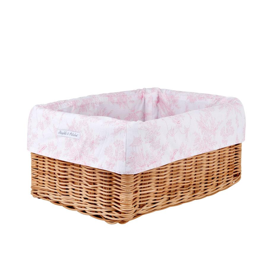 Sweet Pink Rieten mandje + Bekleding  katoen-2