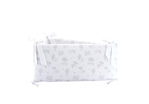 Théophile & Patachou Soft Grey Bedbeschermer 60cm - Bedrukt (60x60x60cm) H:32cm