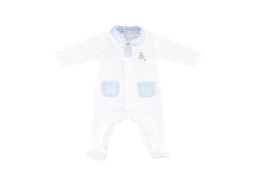 Théophile & Patachou Kruippakje jersey open voorzijde pockets -  Wit/lichtblauw