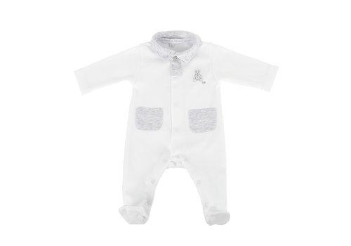 Théophile & Patachou Kruippakje jersey open voorzijde pockets -  Wit/grijs