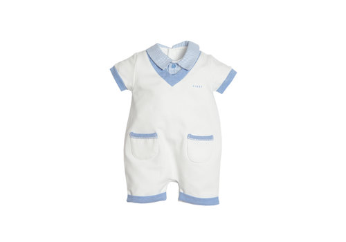 First - My First Collection babypakje kort met polokraag - wit/avia
