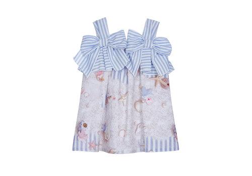 Lapin House jurk met strikken - blauw