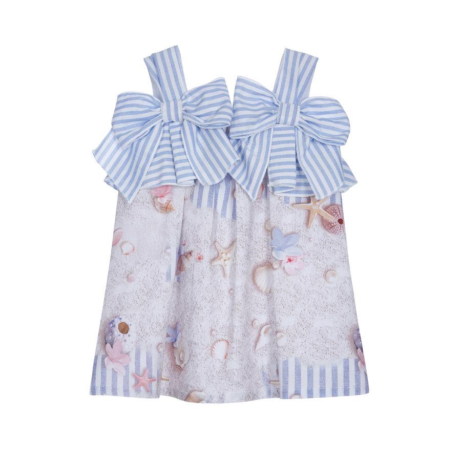 jurk met strikken - blauw-1