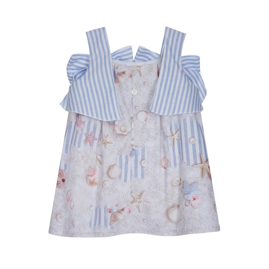 jurk met strikken - blauw-2