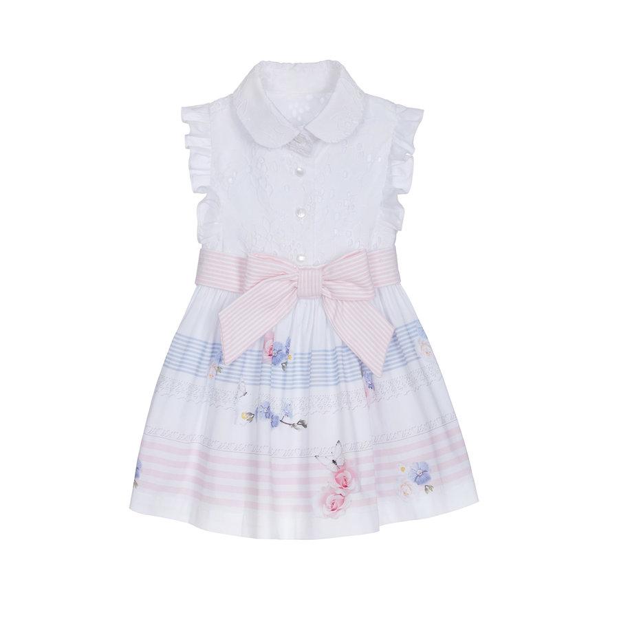 jurk met broderie blouse - wit-1