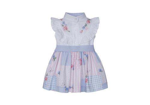 Lapin House jurk met blouse en strik - multicolor