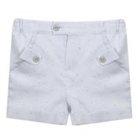 korte broek met sierknoopjes - blauw
