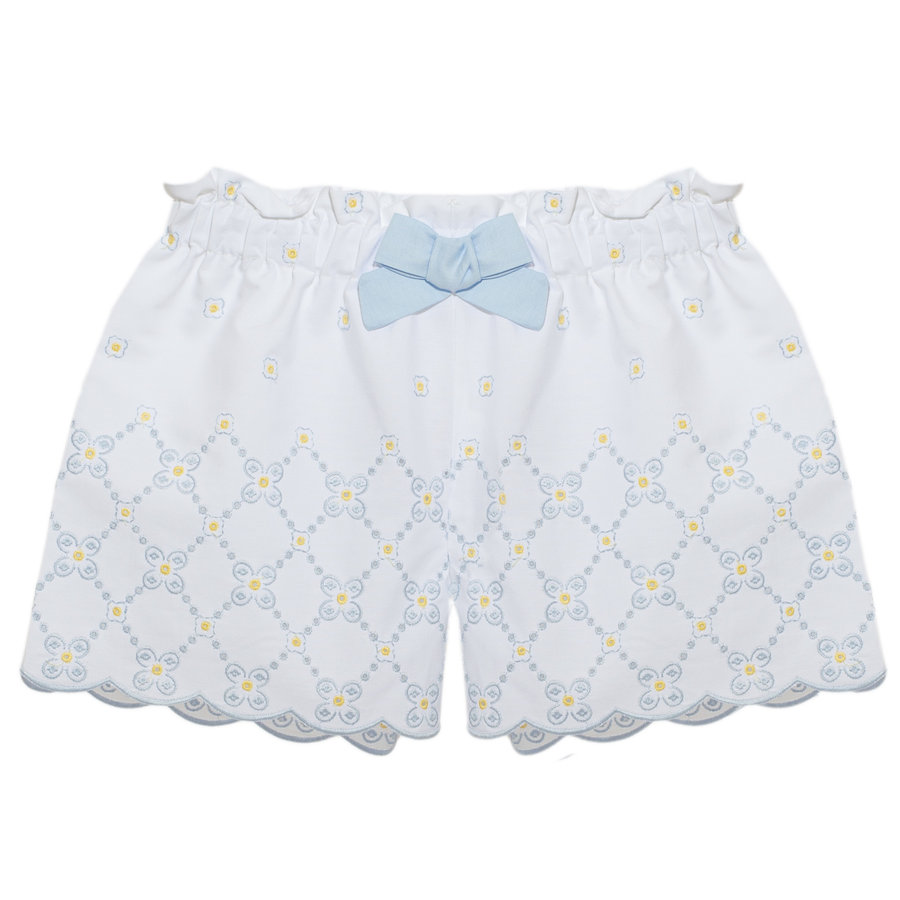korte broek met bloemen - blauw-1