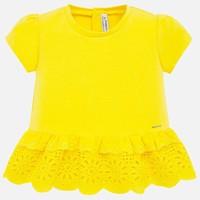 thumb-t-shirt met broderie - geel-1