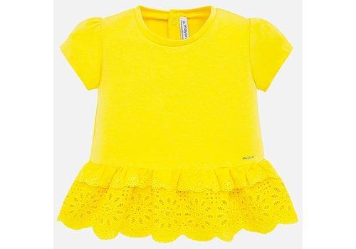 Mayoral t-shirt met broderie - geel