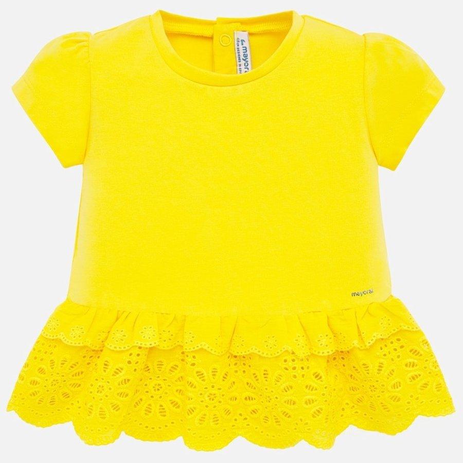 t-shirt met broderie - geel-1