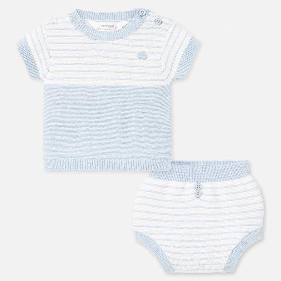 gebreide set van broekje en shirt - blauw-1
