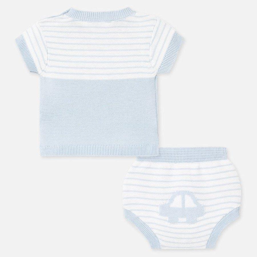 gebreide set van broekje en shirt - blauw-2