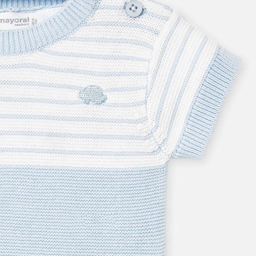 gebreide set van broekje en shirt - blauw-3