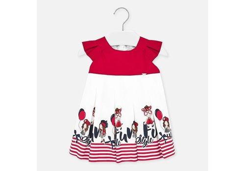 Mayoral jurk met strepen - rood