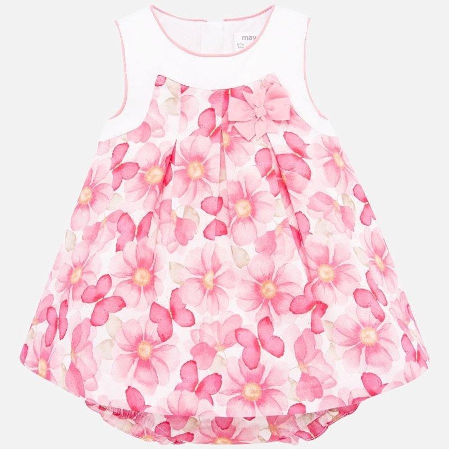 jurk met broekje bloemen - roze-1