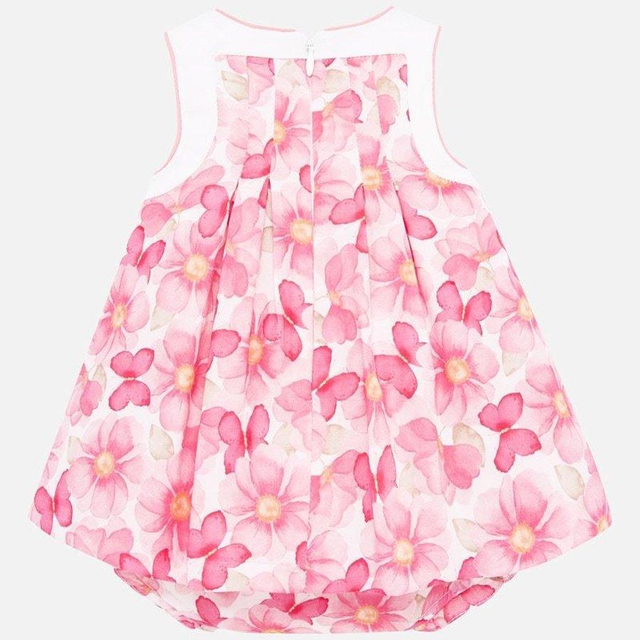 jurk met broekje bloemen - roze-3