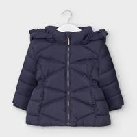 gewatteerde jas met schulprand - blauw