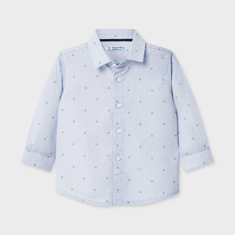overhemd met print - blauw-1