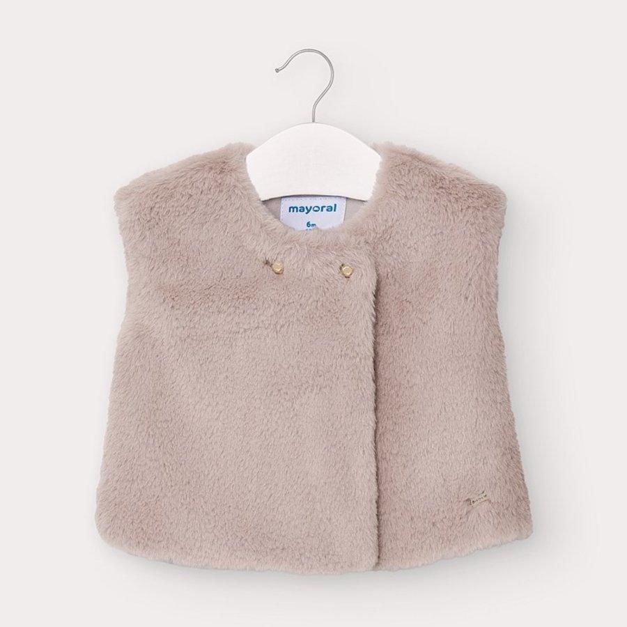 faux fur vestje - stone-1