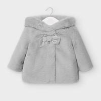 faux fur jasje met capuchon - grijs