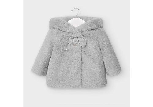 Mayoral faux fur jasje met capuchon - grijs