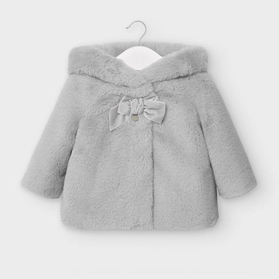 faux fur jasje met capuchon - grijs-1